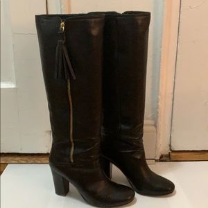 Coach Black Leather Zip Up Stacked Heel Boot 9
